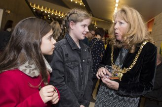 The Star Super Kids Awards Studio Theatre at The Crucible Amelia Thompson and Scarlet Archer meet Cllr Anne Murphy