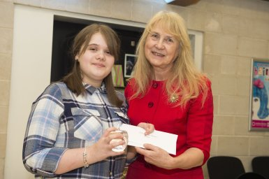 The Star Super Kids Awards Studio Theatre at The Crucible Mckenzie Doman, winner of the Extraordinary Inspirer awrd with Cllr Jackie Drayton