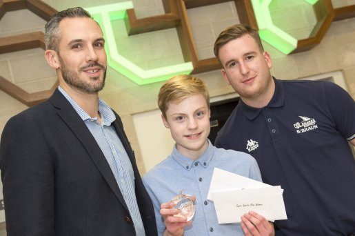 The Star Super Kids Awards Studio Theatre at The Crucible Mike Tuck and Marko Backovic with Sports Star winner Josh Thompson